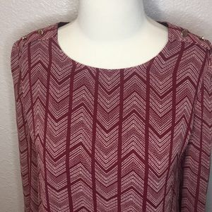 Burgundy and white patterned long sleeve dress